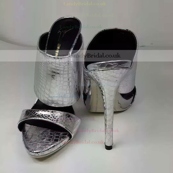 Women's Silver Real Leather Stiletto Heel Sandals