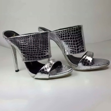 Women's Silver Real Leather Stiletto Heel Sandals #LDB03030758