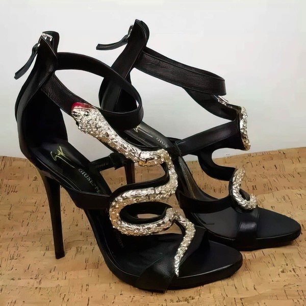 Women's Black Real Leather Stiletto Heel Sandals