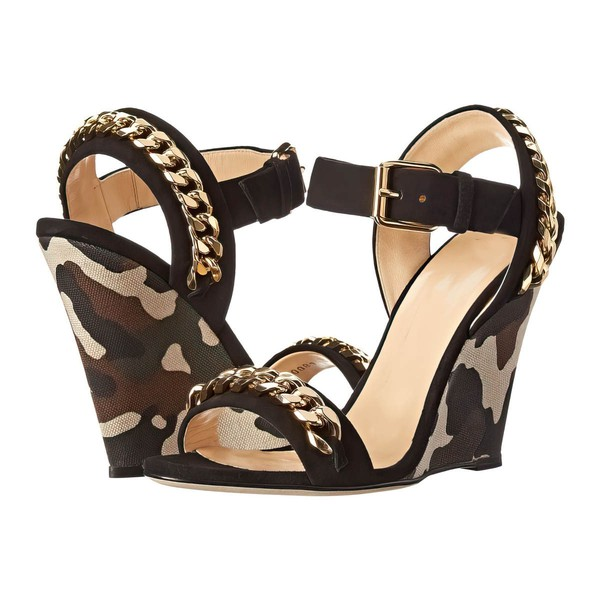 Women's Black Real Leather Wedge Heel Sandals #LDB03030760