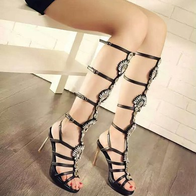 Women's Black Real Leather Stiletto Heel Sandals #LDB03030761