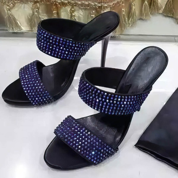 Women's Black Suede Stiletto Heel Sandals