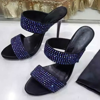 Women's Black Suede Stiletto Heel Sandals #LDB03030763
