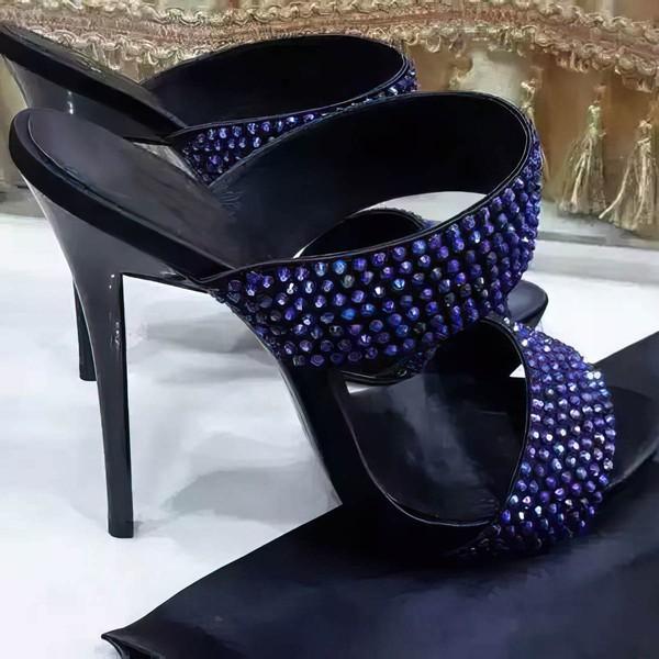 Women's Blue Suede Stiletto Heel Sandals