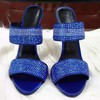 Women's Blue Suede Stiletto Heel Sandals #LDB03030764