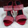 Women's Red Suede Stiletto Heel Sandals #LDB03030765