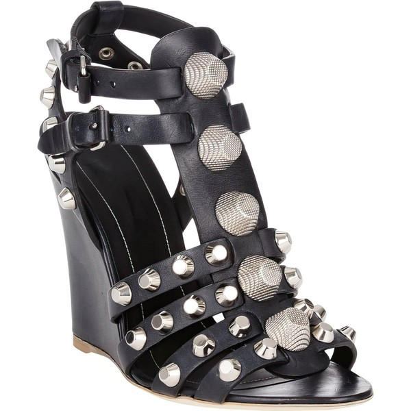 Women's Black Real Leather Wedge Heel Sandals