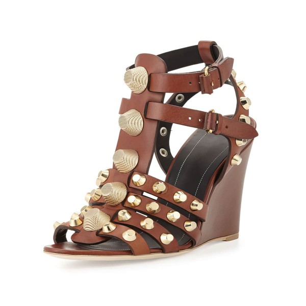 Women's Brown Real Leather Wedge Heel Sandals