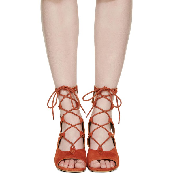 Women's Brown Suede Wedge Heel Sandals