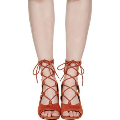 Women's Brown Suede Wedge Heel Sandals #LDB03030768