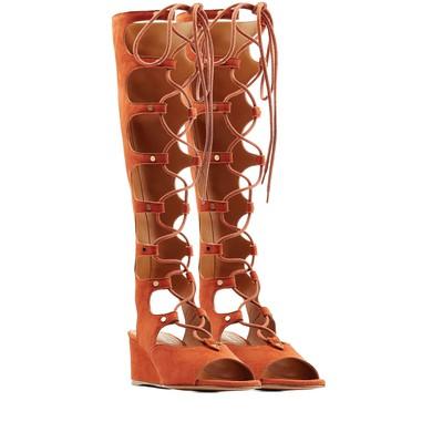 Women's Brown Suede Wedge Heel Sandals #LDB03030769