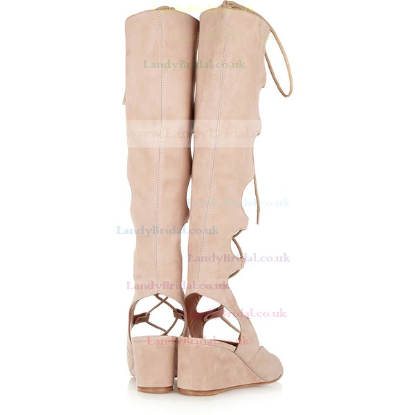 Women's Pink Suede Wedge Heel Sandals