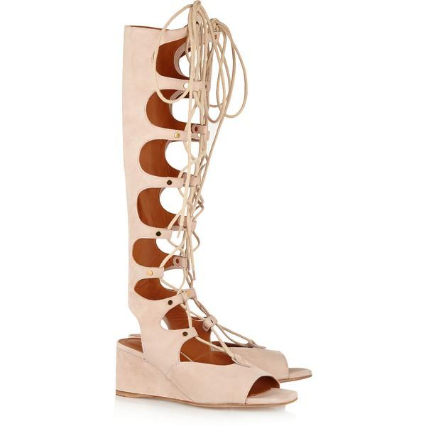 Women's Pink Suede Wedge Heel Sandals