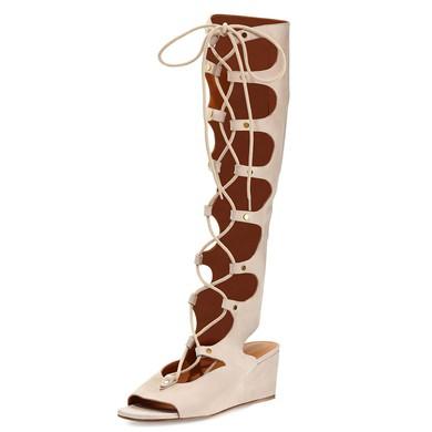 Women's Pink Suede Wedge Heel Sandals #LDB03030770