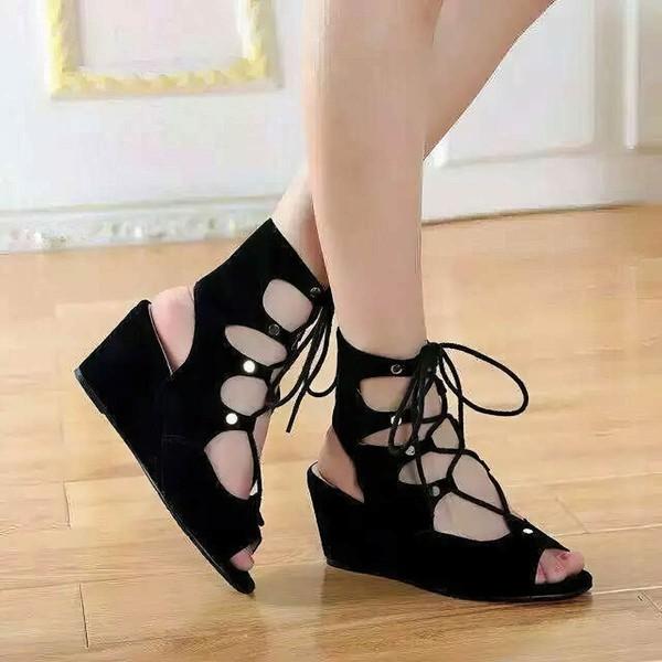 Women's Black Suede Wedge Heel Sandals
