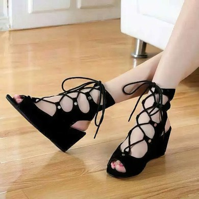 Women's Black Suede Wedge Heel Sandals #LDB03030772