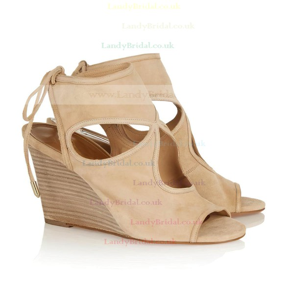 Women's Apricot Suede Wedge Heel Sandals