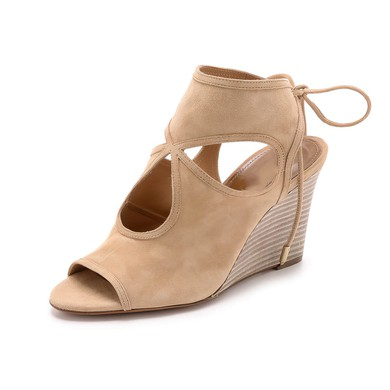 Women's Apricot Suede Wedge Heel Sandals #LDB03030773