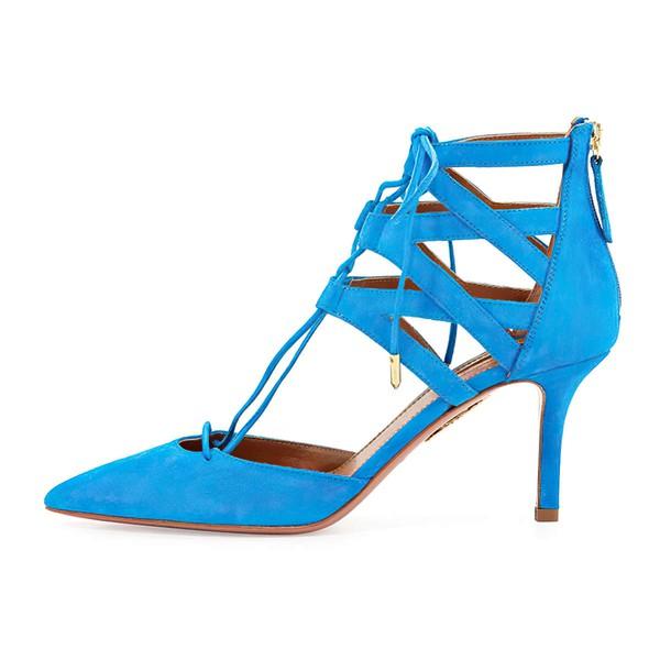 Women's Blue Suede Stiletto Heel Pumps