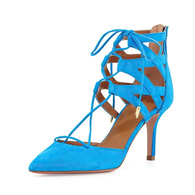 Women's Blue Suede Stiletto Heel Pumps #LDB03030774