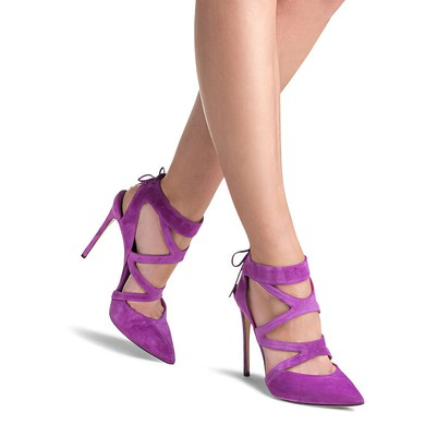 Women's Lavender Suede Stiletto Heel Pumps #LDB03030776