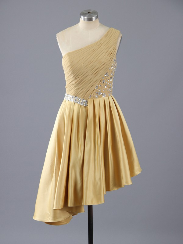 Affordable Gold Elastic Woven Satin Asymmetrical Beading One Shoulder Prom Dress #LDB02111386