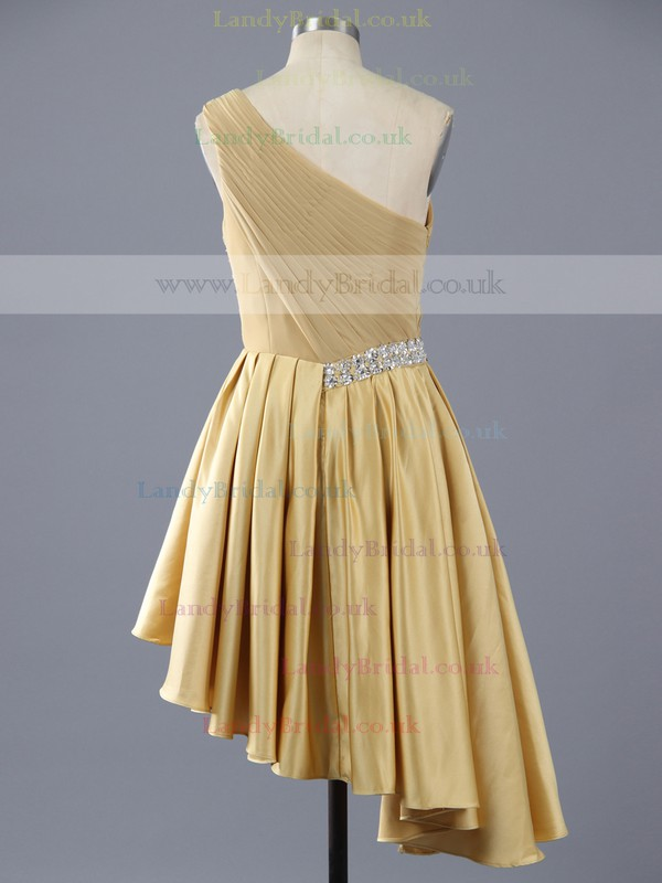 Affordable Gold Elastic Woven Satin Asymmetrical Beading One Shoulder Prom Dress #LDB02111386