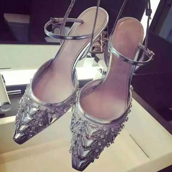 Women's Silver Satin Stiletto Heel Pumps #LDB03030777