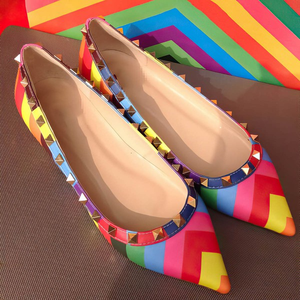 Women's Multi-color Real Leather Flat Heel Flats