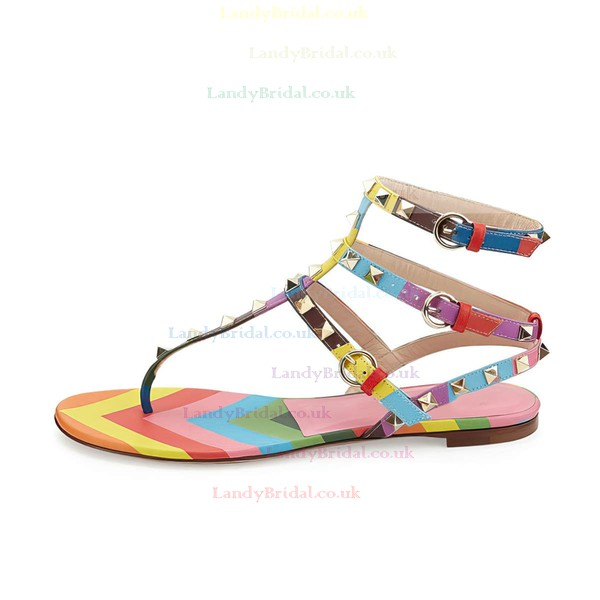 Women's Multi-color Real Leather Flat Heel Sandals