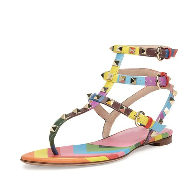 Women's Multi-color Real Leather Flat Heel Sandals #LDB03030779