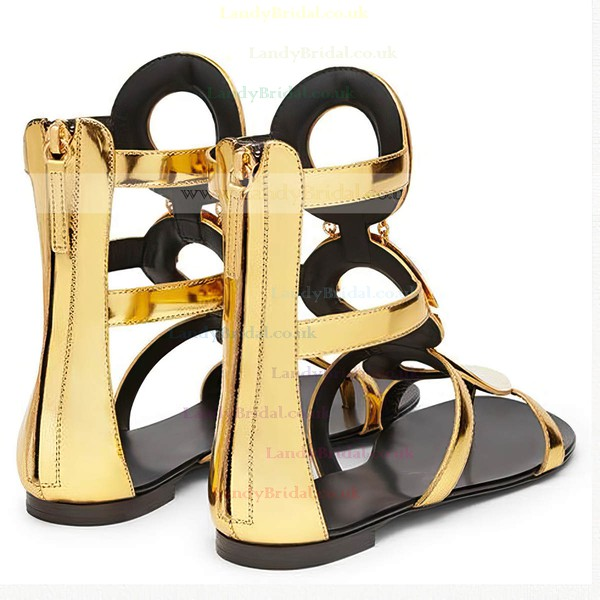 Women's Gold Patent Leather Flat Heel Sandals