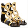 Women's Gold Patent Leather Flat Heel Sandals #LDB03030780