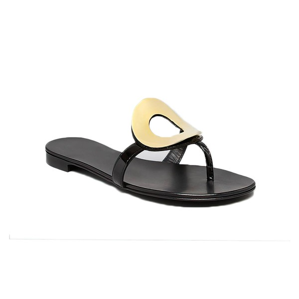 Women's Black Patent Leather Flat Heel Flip-Flops
