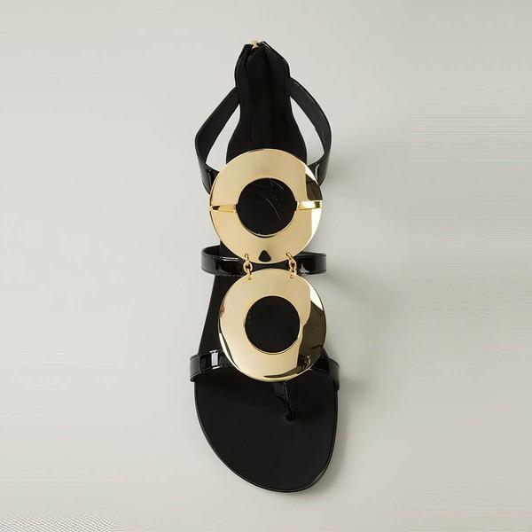 Women's Black Patent Leather Flat Heel Flats