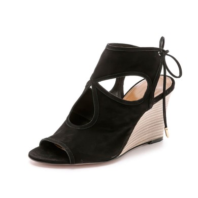 Women's Black Suede Wedge Heel Sandals #LDB03030783