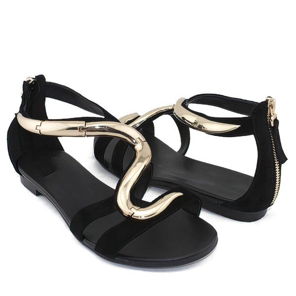 Women's Black Suede Flat Heel Sandals #LDB03030784