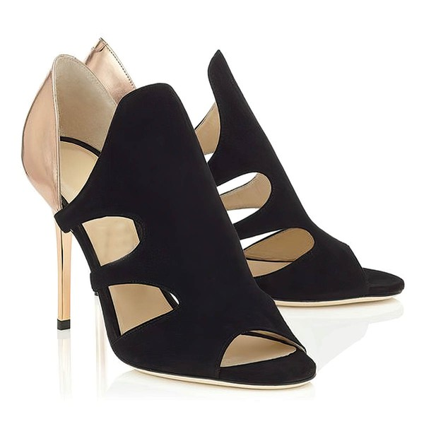 Women's Black Suede Stiletto Heel Pumps