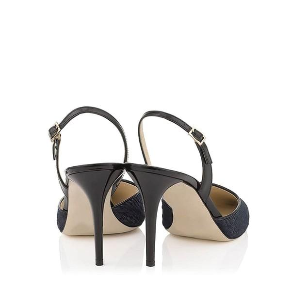 Women's Black Cloth Stiletto Heel Pumps