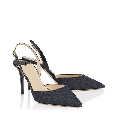 Women's Black Cloth Stiletto Heel Pumps #LDB03030790