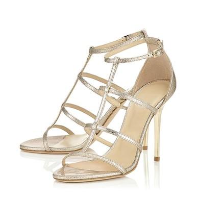 Women's Gold Real Leather Stiletto Heel Pumps #LDB03030791