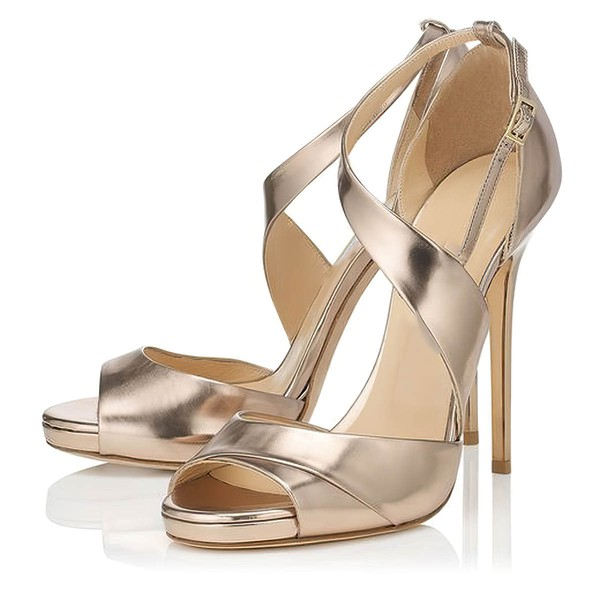 Women's Gold Real Leather Stiletto Heel Pumps #LDB03030794