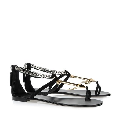 Women's Black Real Leather Flat Heel Sandals #LDB03030795