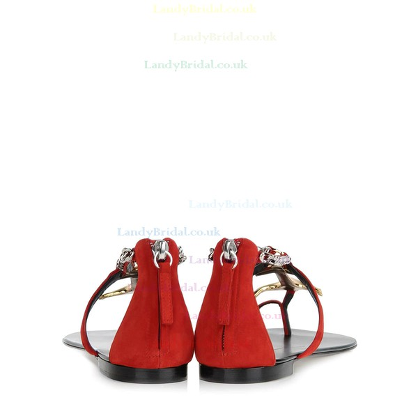 Women's Red Real Leather Flat Heel Flats