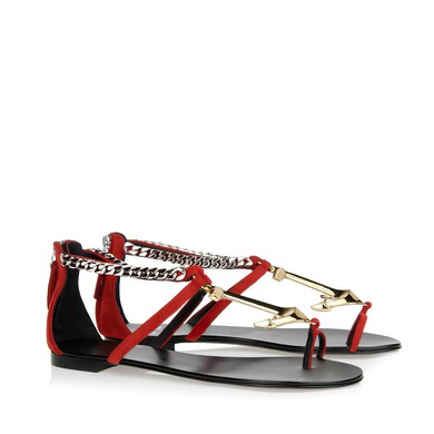 Women's Red Real Leather Flat Heel Flats #LDB03030796