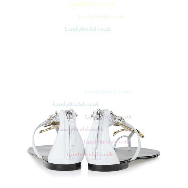 Women's White Real Leather Flat Heel Sandals