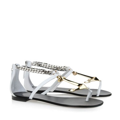 Women's White Real Leather Flat Heel Sandals #LDB03030797