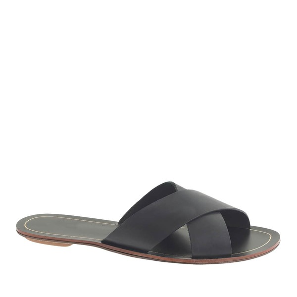 Women's Black Real Leather Flat Heel Flats #LDB03030799