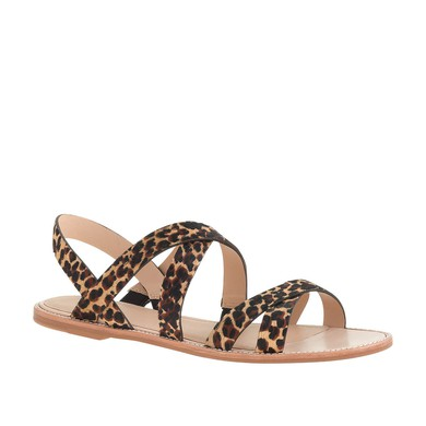 Women's Leopard Velvet Flat Heel Flats #LDB03030801