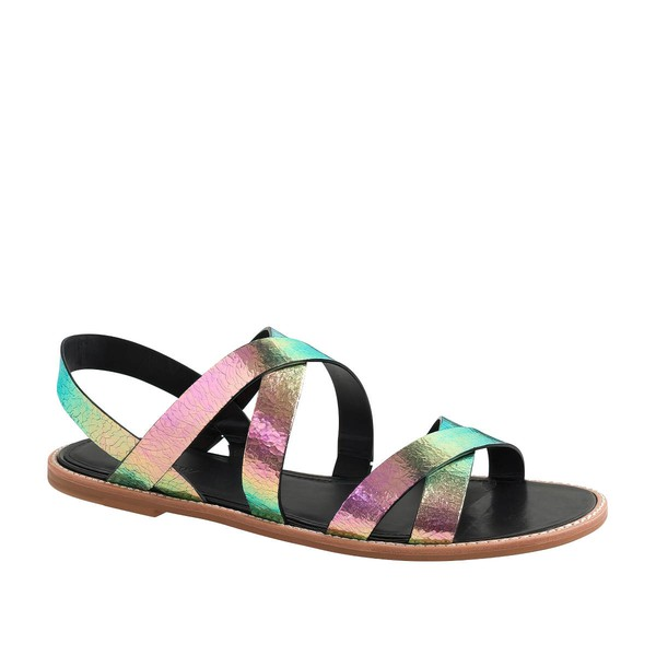 Women's Multi-color Real Leather Flat Heel Sandals #LDB03030802